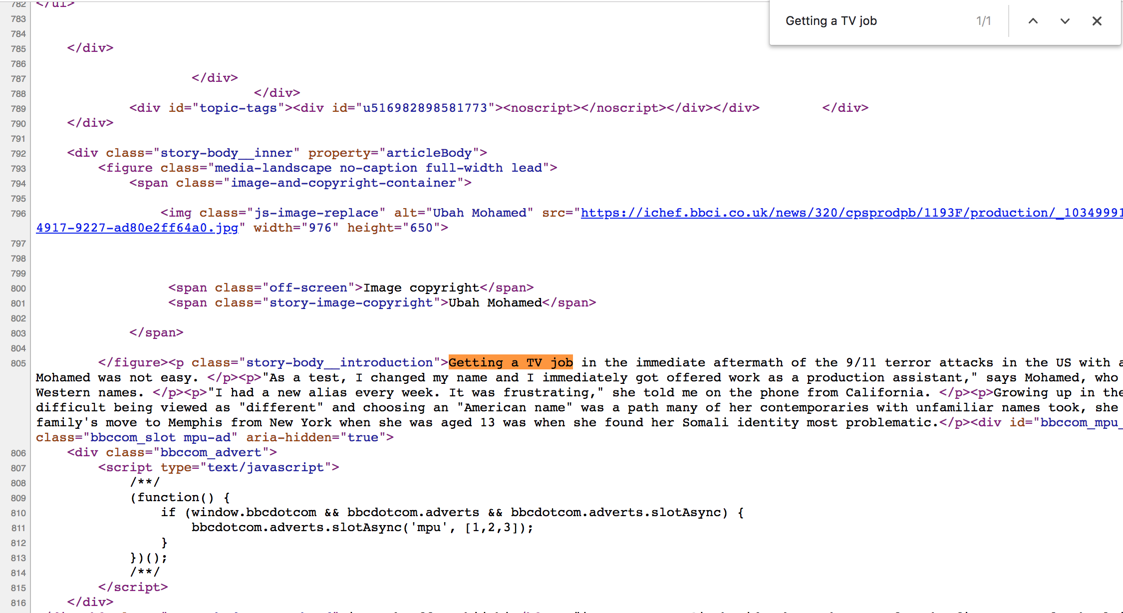 Image 2: Finding text in the source code of a web page.