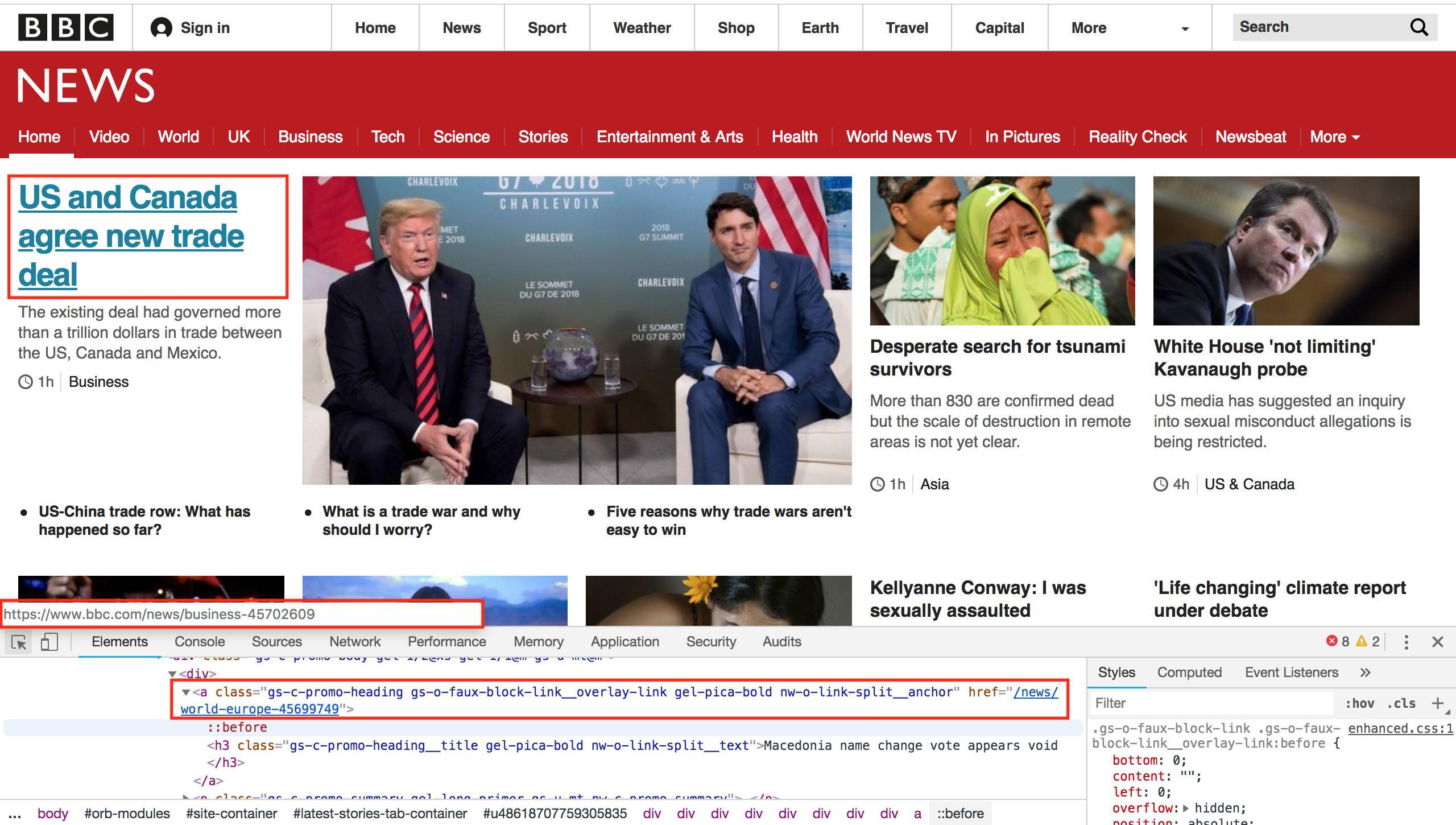 Image 7: Viewing headline links using Developer Tools.