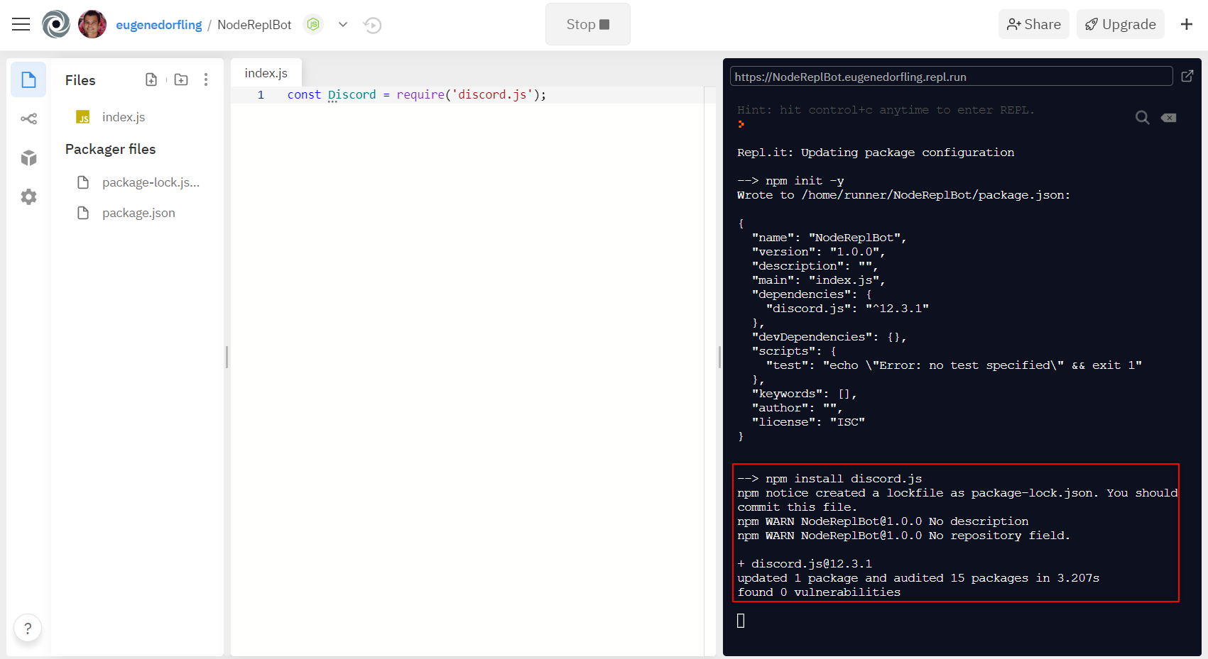 Image: 7 Installing Discord.js in our Repl