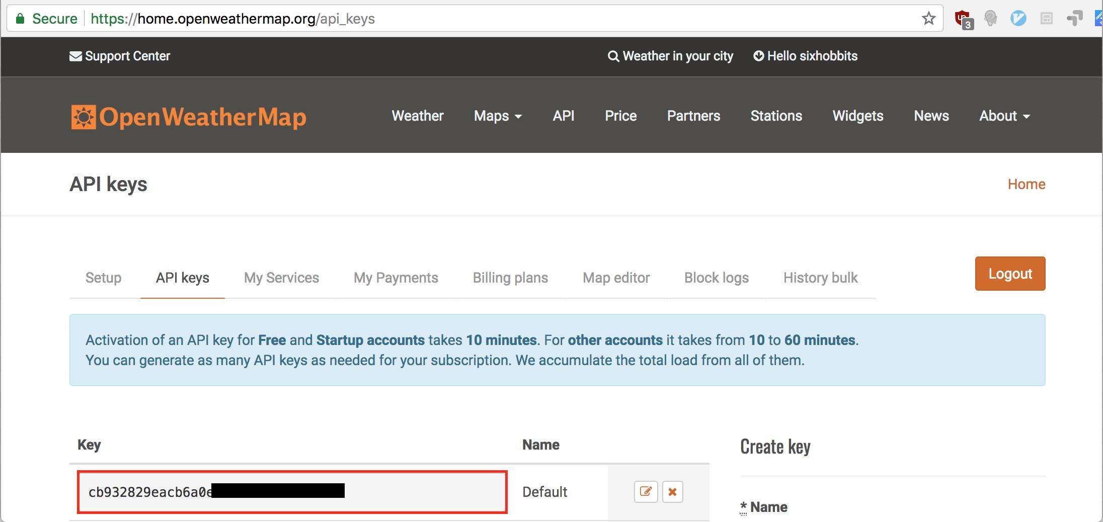 OpenWeatherMap API Key page